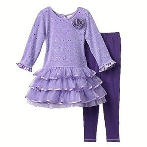 Youngland Purple Tiered Sweater Dress Leggings
